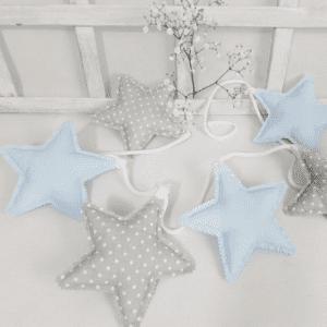 Girlande Stern Pastell Blau & Dots