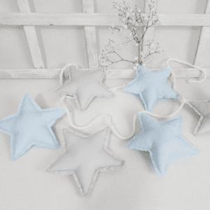 Girlande Stern Pastell Blau & Grau