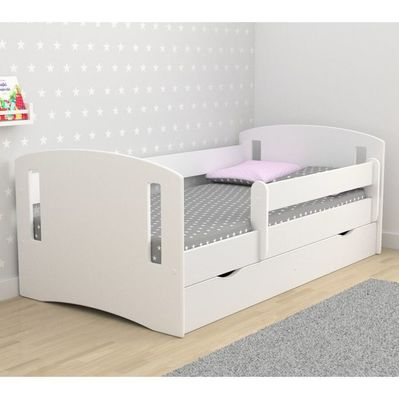 kinderbett classic 2 komplett mit schutzgitter matratze und lattenrost. Black Bedroom Furniture Sets. Home Design Ideas