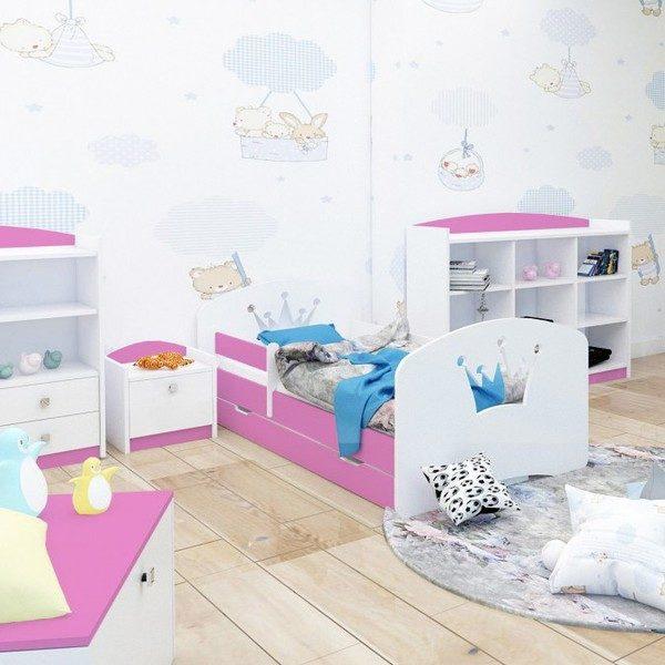 Kinderbett Krone Rosa Weiss