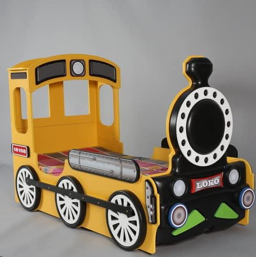 Kinderbett Lokomotive gelb