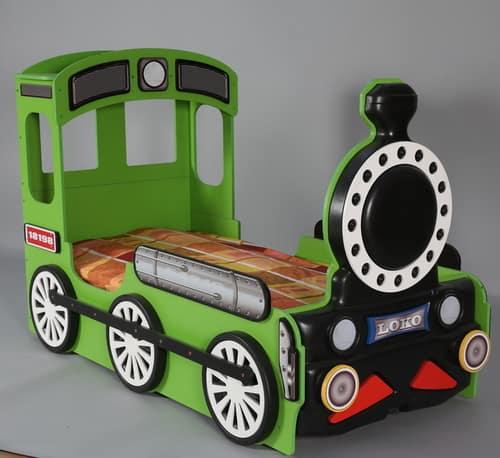 Kinderbett Lokomotive gruen