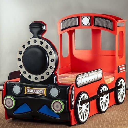 Kinderbett Lokomotive rot