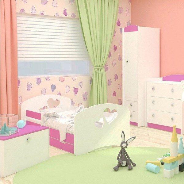 Kinderbett Love Rosa Weiss
