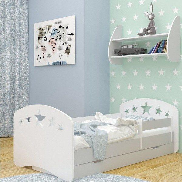 Kinderbett Sterne Grau Weiss