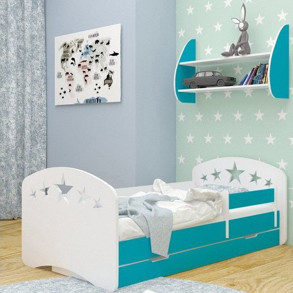 Kinderbett SterneTürkis Weiss