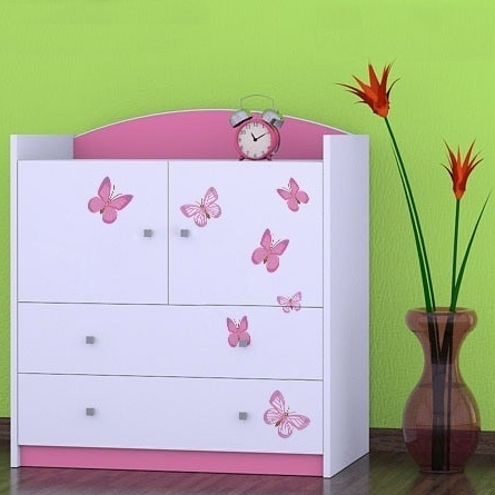Kinderkommode Butterfly Rosa