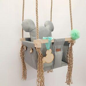 Kinderschaukel Maus Grau