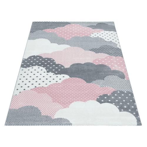 Kinderteppich Wolken Pink