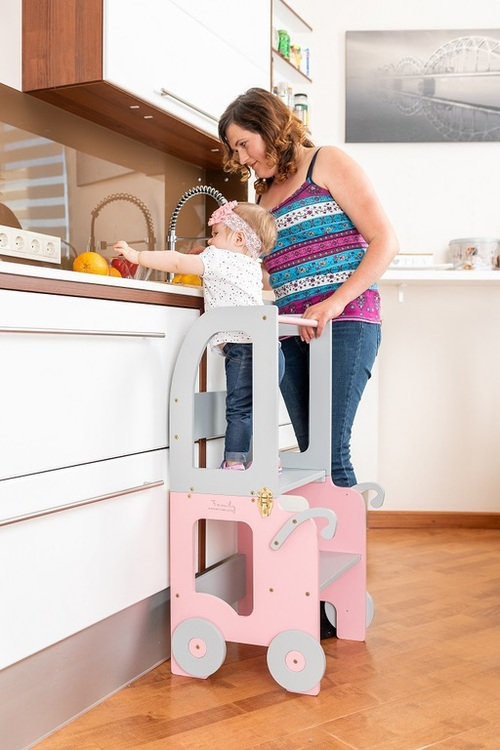 Lernturm Transformable Grau-Pink