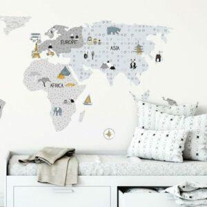 Wandsticker Weltkarte Grau