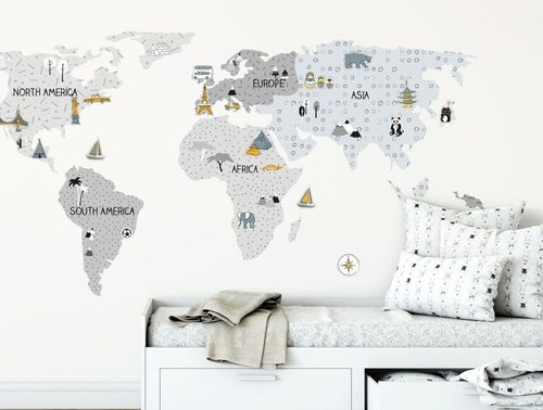 Wandsticker Weltkarte Grau Online Kaufen In Der Kinderspielewelt Ch