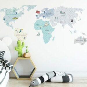Wandsticker Weltkarte Mint