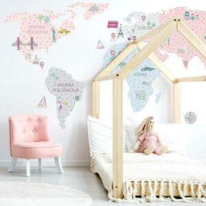 Wandsticker Weltkarte Pink